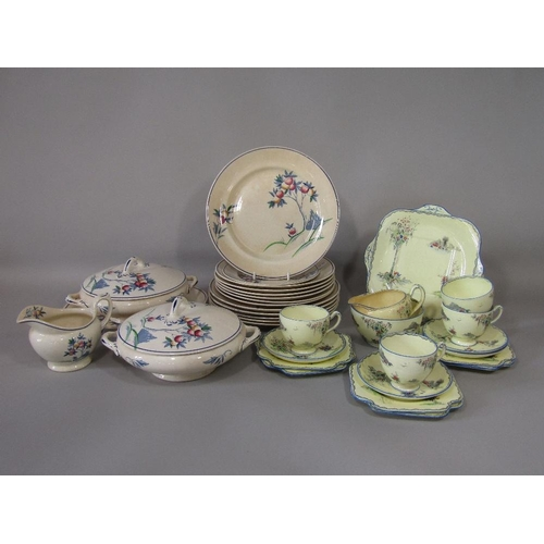 26 - A collection of Lawley~s dinnerwares with fruit decoration comprising a pair of two handled tureens ...