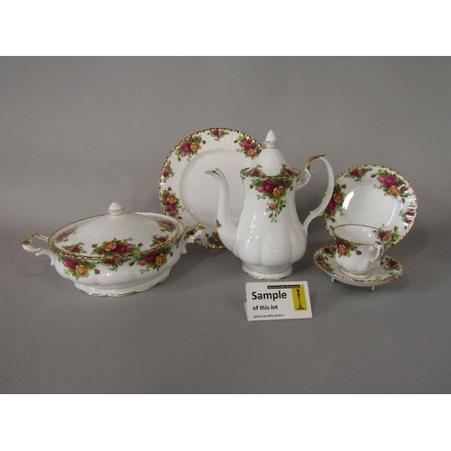3 - A quantity of Royal Albert Old Country Roses pattern wares comprising a pair of tureens and covers,s...