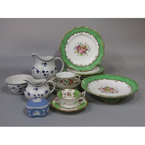 30 - A collection of Royal Worcester coffee wares with gilt fruiting vine decoration on a white and blue ...
