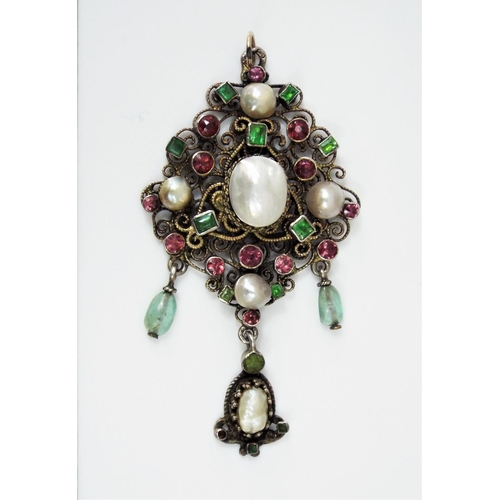 309 - Austro-Hungarian Renaissance Revival style drop pendant set with baroque pearls,aquamarine and rubie...