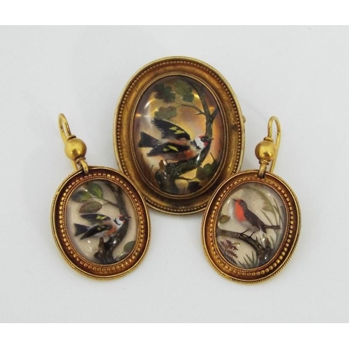 310 - Good quality Essex crystal reverse painted demi-parure depicting birds in woodland setting,comprisin...