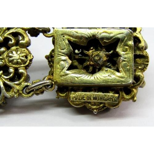 311 - Hungarian 800 silver gilt parure comprising bracelet,brooch and pair of stud earrings,elaborately de...