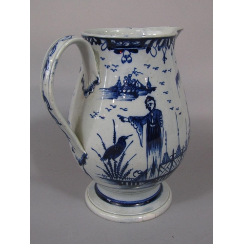 33 - A late pearlware 18th century jug in the Worcester manner with blue and white painted chinoiserie la...
