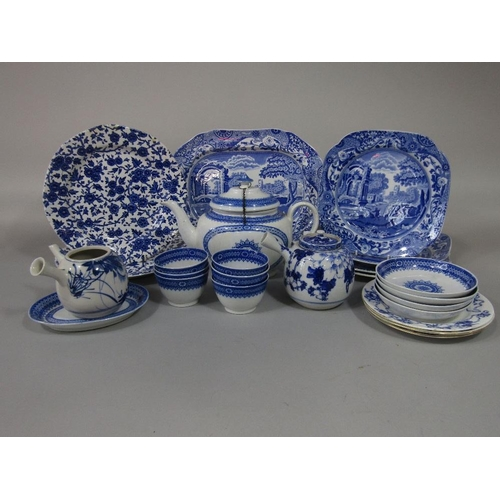 36 - A collection of blue and white printed wares including early 19th century teawares,Copeland Spode It...