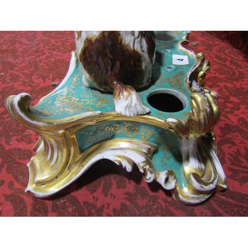 4 - A good quality mid 19th century Jacob Petit (Fontainebleau) ceramic inkstand with applied seated bro...