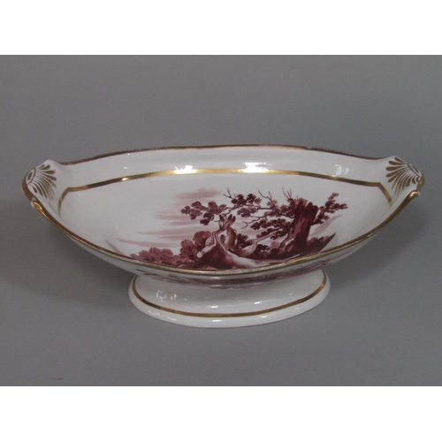 42 - A 19th century bowl of oval form with well painted panel of stags to the interior and with recumbent...