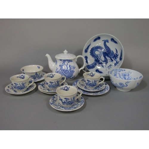 44 - A collection of Royal Worcester Blue Dragon and Regency ware teawares comprising a teapot,four coffe...