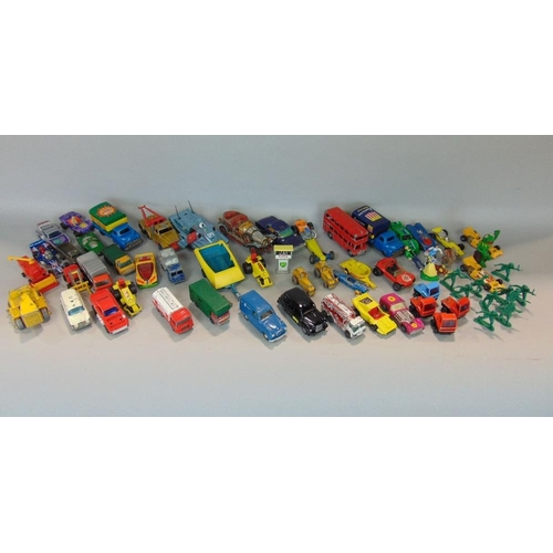 Box of model vehicles,play worn,including models by Corgi,Lesney,Matchbox,etc,including Captain Scarlet Spectrum Pursuit Vehicle (af) together with a bag of plastic toy soldiers
