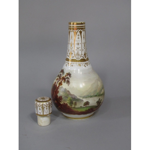 47 - A 19th century bottle shaped vase and cover with good quality continuous painted landscape decoratio...