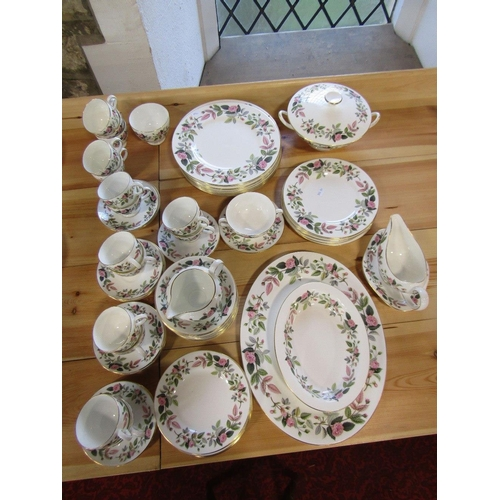 49 - A quantity of Wedgwood Hathaway Rose pattern wares comprising tureen and cover^oval meat plate,sauce...