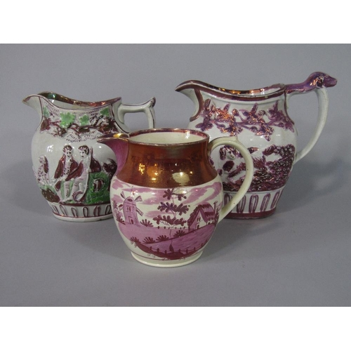 52 - A collection of six early 19th century jugs in various designs including ironstone example with serp...