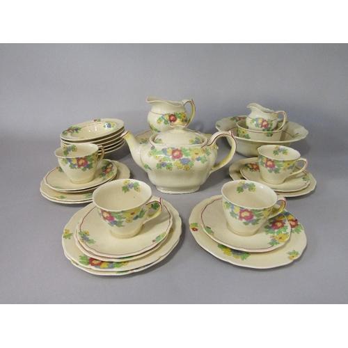 6 - A collection of Royal Doulton Minden pattern wares number D5334 comprising teapot,cake plate,milk ju...