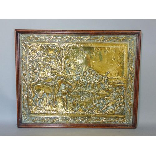 650A - 19th century embossed brass plaque depicting various characters in an exterior setting to include a ...