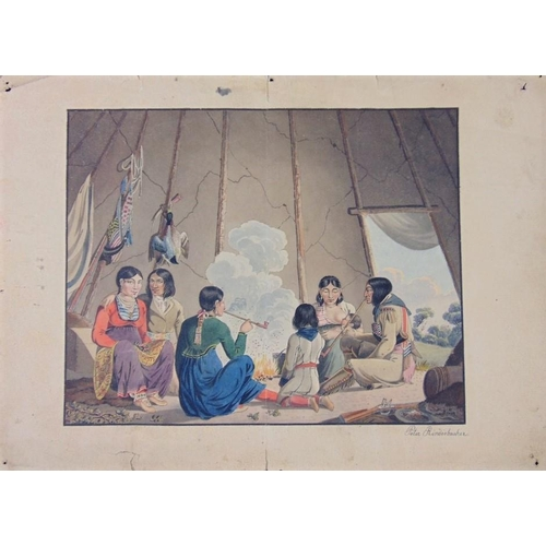 656 - Peter Rindisbacher (Swiss 1806-1834) scene inside a teepee with family of native Americans around a ...