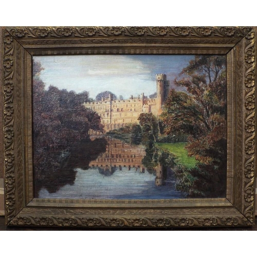 678 - F Bailey (British 20th century) - Study of Warwick Castle from the river,oil on board,indistinctly s...