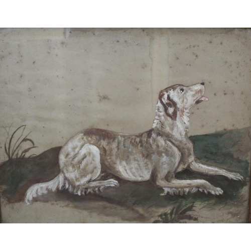 680 - 19th century naive school - Study of a recumbent dog in a landscape setting,oil on paper,unsigned,29...