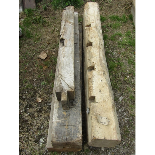 Five reclaimed oak beams (ideal for lintels and fireplace arches) 190cm x 20cm x 25cm and smaller