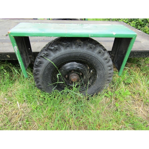 409 - Single axle flatbed trailer, bed size 350 x 150 approx, with 50mm ball hitch...