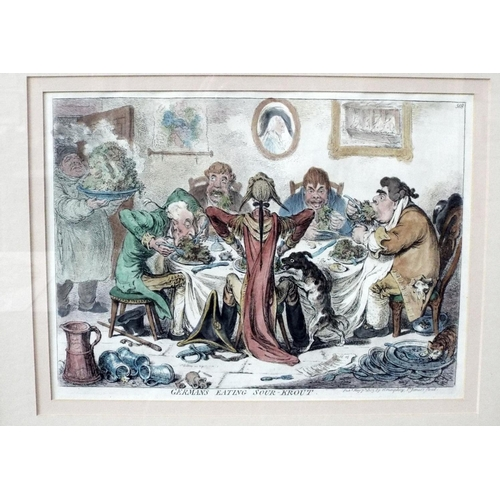 James Gillray (British 1756-1815) - Germans eating Sour-Krout, hand coloured caricature etching published by H Humphrey 1803, 27 x 37.5cm approx visible sheet size, framed