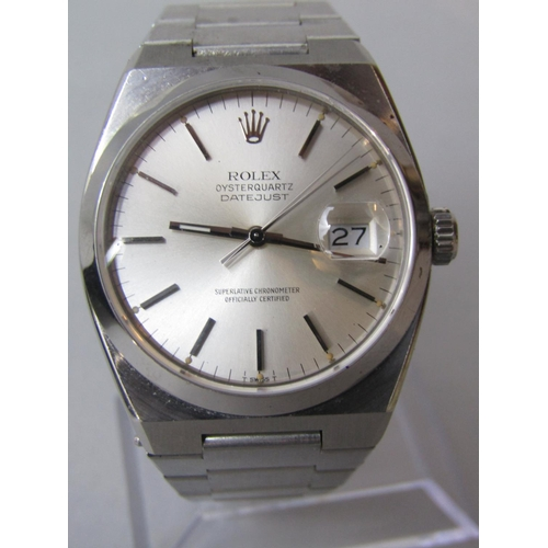 564 - 1980s Rolex Oyster quartz Datejust 17000, silvered dial with date aperture and baton markers, 35mm, ...