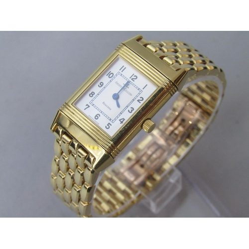 565 - Good 18k Jaeger-Le-Coultre Reverso Ladies bracelet watch, 19mm, dial with silvered chapter ring and ...