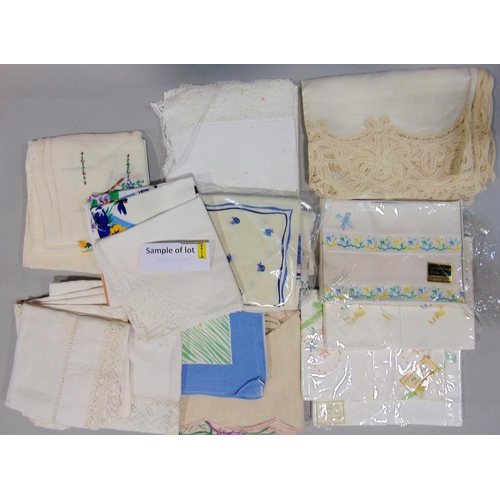 Box of textiles including good quality linen and damask table cloths,embroidered pillow case sets etc