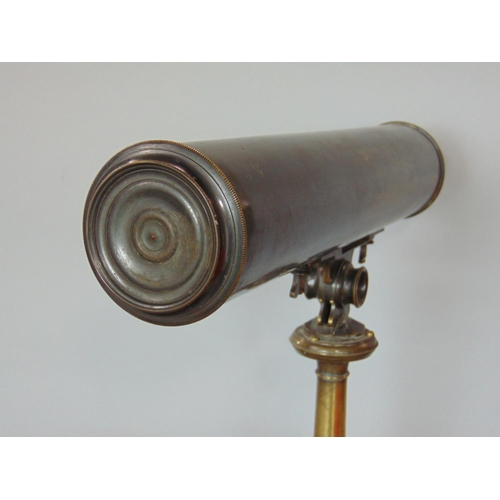 719 - Good quality 19th century boxed brass cased telescope by James Le Cour, Dean Street, Fetter Lane, Lo...