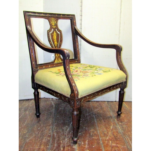 1526 - A 19th century walnut open armchair probably Italian, the moulded carved frame with central pierced ...