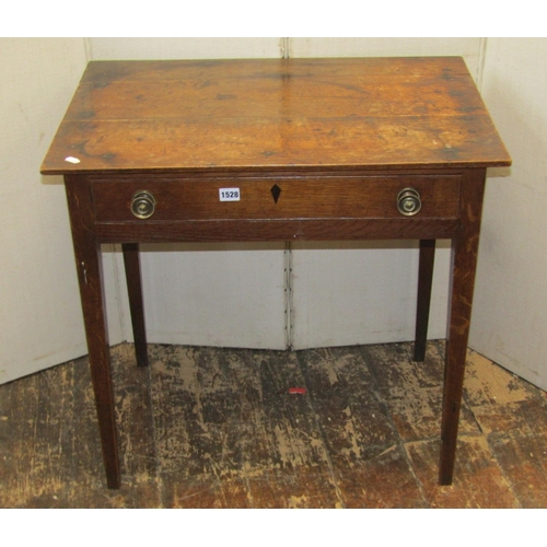1528 - A Georgian oak country made side table fitted with a shallow frieze drawer raised on four square tap...