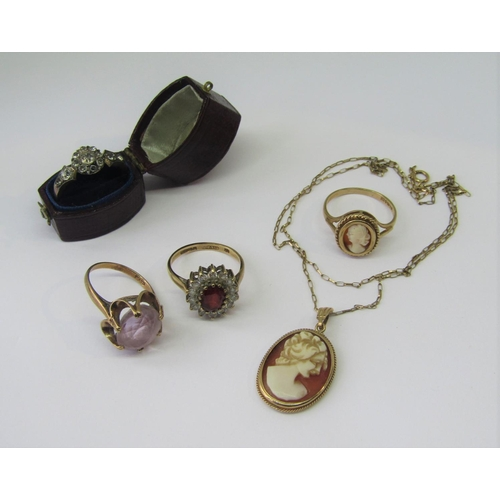 Collection of 9ct jewellery comprising three dress rings to include an antique paste cluster example and a vintage amethyst example, a cameo pendant necklace and further similar ring, 13.4g total (5)