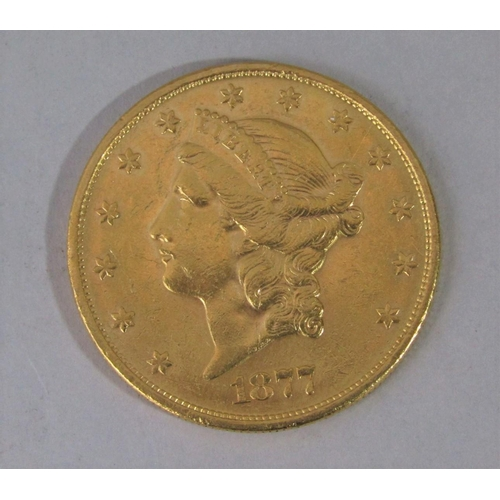 517 - 1877 solid gold $20 coin Liberty Head coin, 3.5cm, 33.4g...