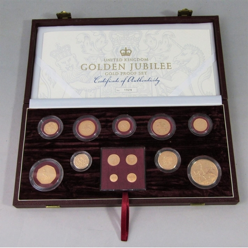 518 - UK Golden Jubilee Gold Proof set, 2002, 13 coins including Maundy Money, £5-1p, 22ct, with box and p...
