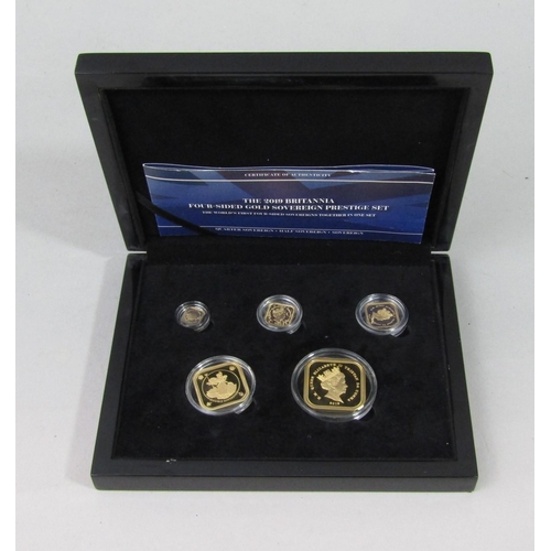 519 - The 2019 Britannia Four-Sided Gold Sovereign Prestige Set, comprising five pounds, double sovereign,...