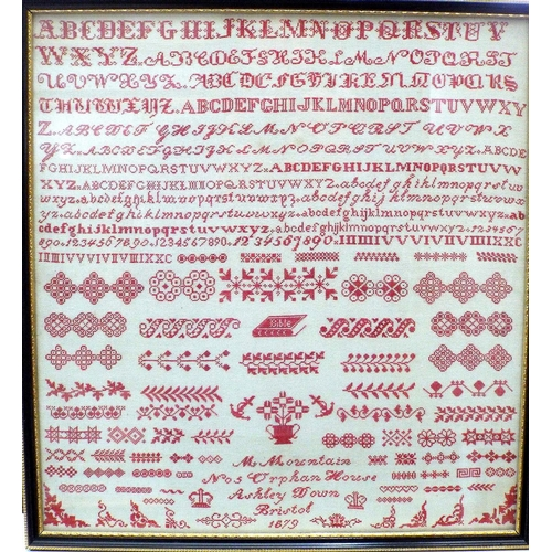 1611 - Late 19th century sampler by M Mountain, 5 Orphan House, Ashley Down, Bristol, 1879, 37 x 35 cm, fra...