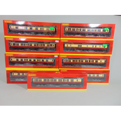 35 - 9 Hornby BR Hawksworth coaches in crimson /cream livery, all boxed with original packaging (9)...