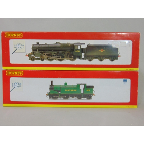 60 - 2 Hornby Locomotives: R2733 SR 0-4-4 M7 class '676' and R2258 BR 4-6-0 class 5MT, weathered '44781',...