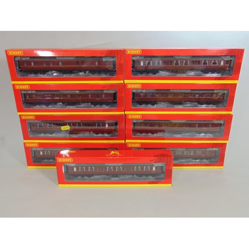 12 - 9 Hornby coaches all BR Hawksworth in maroon livery, with original boxes (9)...