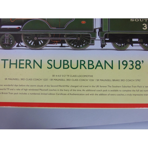 13 - Hornby 'Southern Suburban 1938' Train pack R2813, includes SR 4-4-0 '312' T9 class locomotive and 3 ...