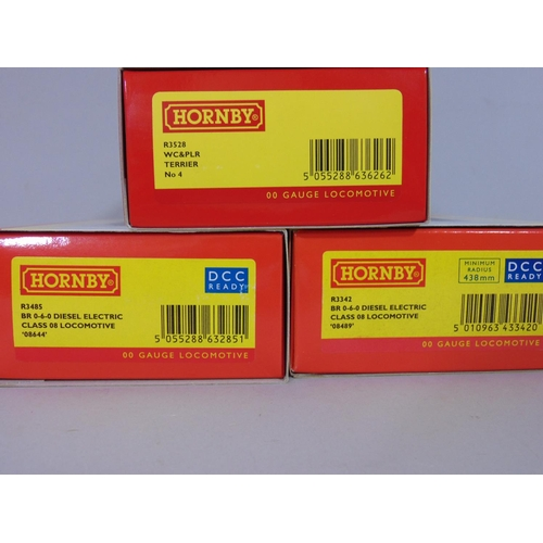 17 - 3 Hornby boxed Locomotives incl R3528 WC & PLR Terrier No 4, R3485 BR 0-6-0 Diesel Electric class 08...