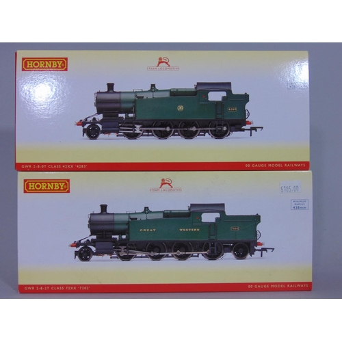 19 - 2 Hornby boxed  Locomotives: R3127 GWR 2-8-2T Class 72XX 7202 and R3123 GWR 2-8-0T Class 42XX 4283, ...