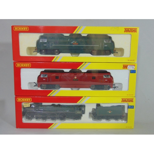 22 - 3 boxed Hornby Railroad locomotives: R3168 4-6-2 'Duke of Gloucester', R3382 'Thruster' (Maroon) and...
