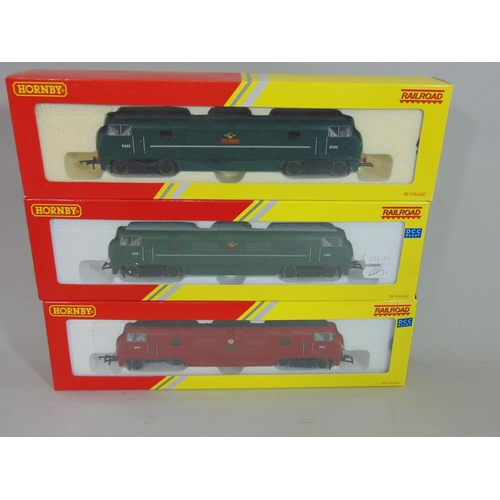 23 - 3 Hornby railroad  Class 42 Locomotives: R3491 'Benbow', R3068 BR D802 and R3282 'Thruster' (Maroon)...