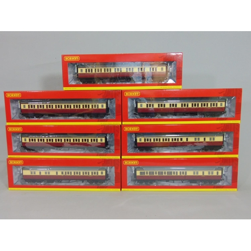42 - 7 Hornby boxed BR Collett corridor coaches all in crimson/ cream (7)...