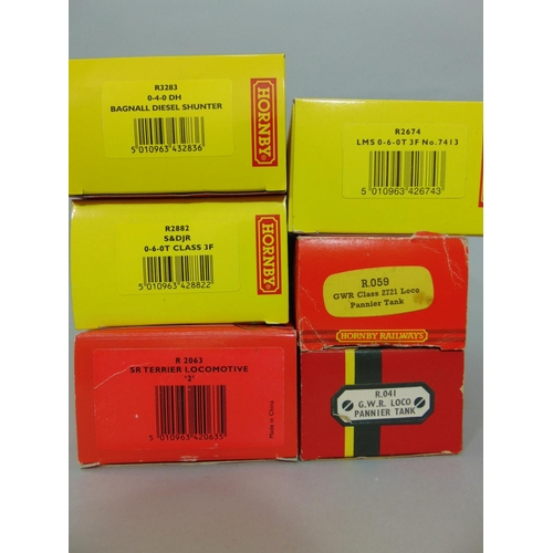 26 - 6 boxed Hornby Locomotives: Railroad Series R2674, R2882, and  R3283, Toplink R2063 and 2 GWR Pannie...