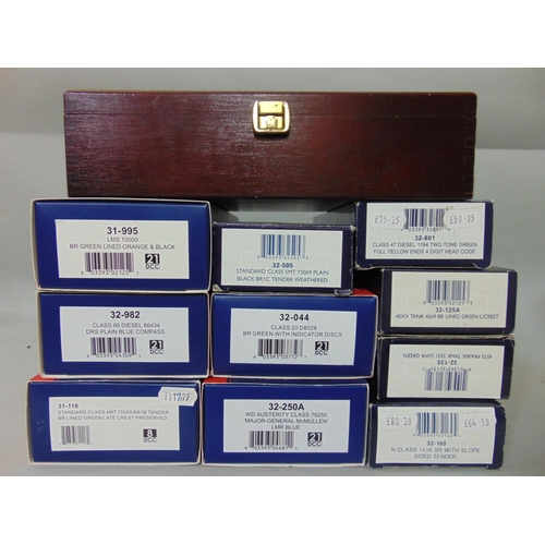 230 - 10 empty Bachmann locomotive boxes and a hinged lid wooden Bachmann box...