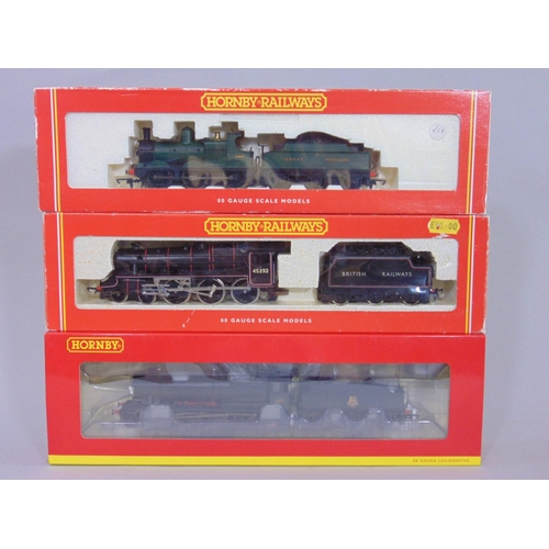 54 - 3 Hornby Locomotives with tenders: R3006 BR 38xx '3864' weathered, R2064 GWR Dean Goods '2468' and R...