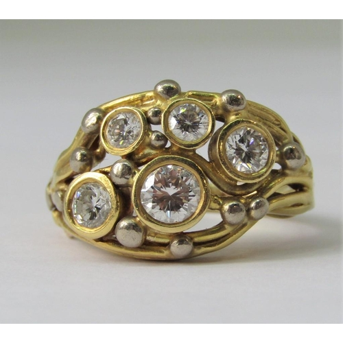 946 - Martin White of Tetbury - impressive 18ct diamond cluster cocktail ring, set with five graduated sto...