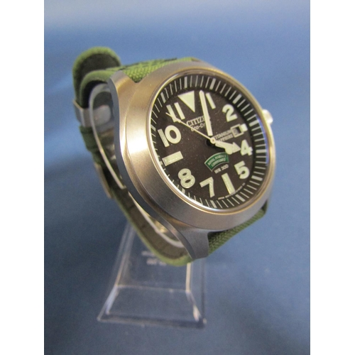 1024 - Citizen Royal Marines Commando titanium gents wristwatch, black dial with lume, Arabic and baton mar...