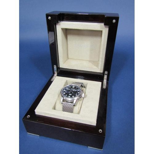 1025 - Gents Zenith Pilot LE Primero Big Date Special Chronograph stainless steel wristwatch, the black dia...