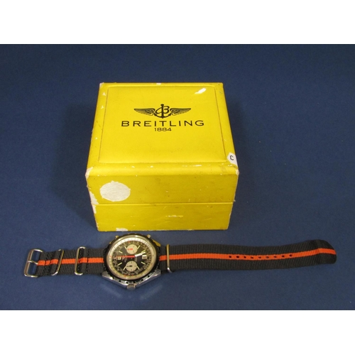 1027 - 1960s gents Breitling Navitimer Chrono-Matic large stainless steel wristwatch with black and silvere...